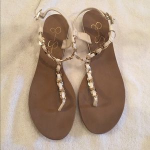 White & gold sandals gently used